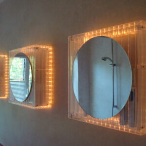 round mirrors with lighting on edges
