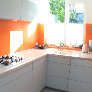 Kitchen with orange background